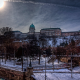 Buda Castle in winter snow