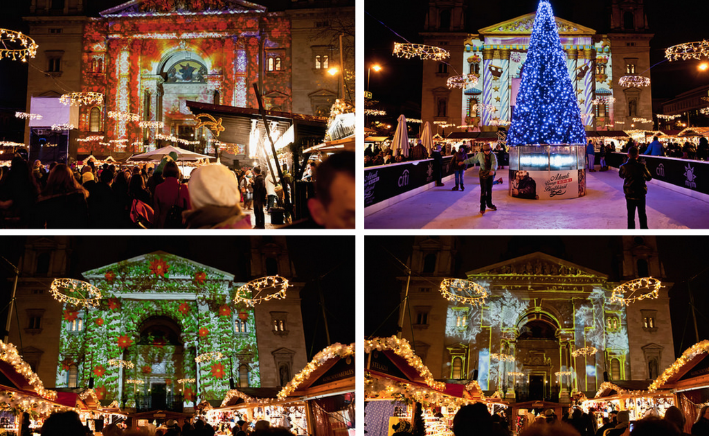 Budapest Basilica Christmas Market Video Mapping