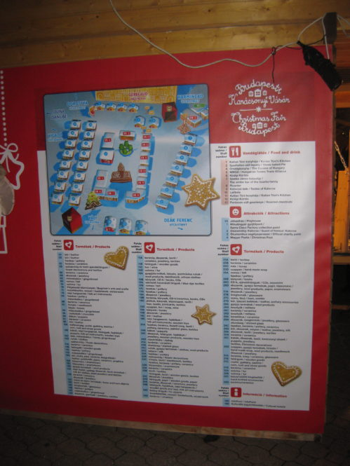 Budapest Christmas Market Map 2012