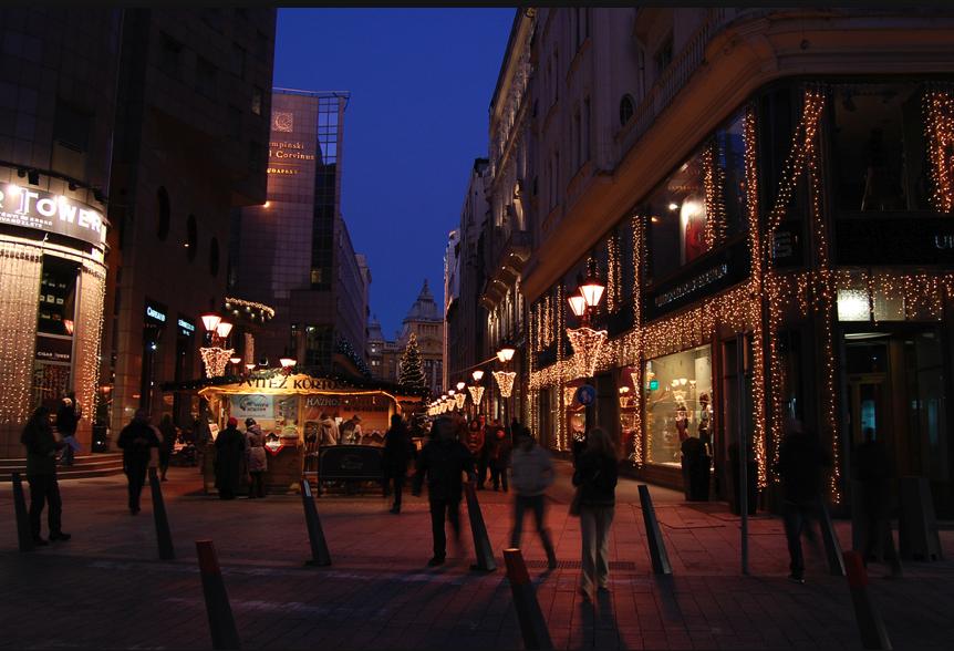 Christmas Lights on Vaci Street at Christmas