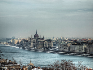 Parliament in winter Budapest