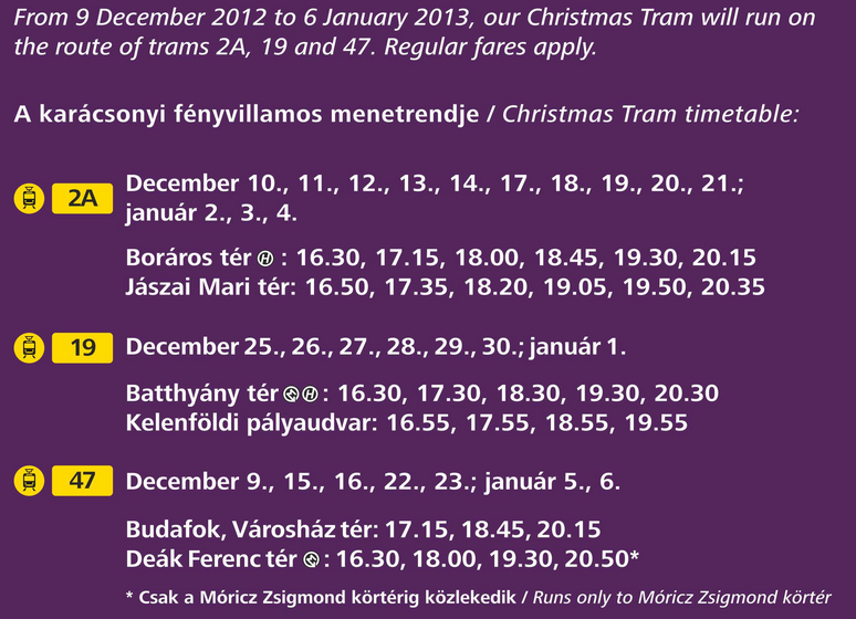 Budapest Christmas Tram Timetable