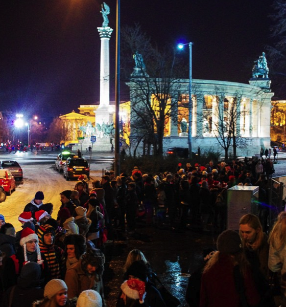 Lines for Santa Claus Party in Budapest on Outdoor Ice Rink