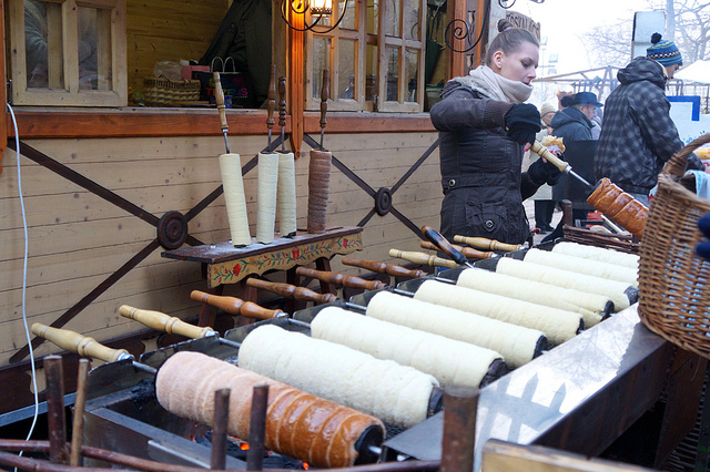 Budapest Winter Christmas Market Foods Chimney Cake Stella Papini