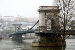 Budapest Chain Bridge in Snow