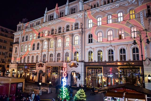 Laser Painting Vorosmarty Square Christmas Market Budapest
